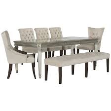 table 4 chairs and bench. sloane light beige rectangular table, 4 chairs \u0026 bench table and