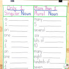 Singular And Plural Verbs Chart Frogs Fairies And Lesson Plans 5 Noun Lessons You Need To