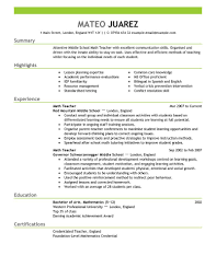 Teacher Resume Examples Substitute Teacher Resume Summary