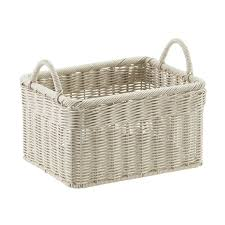 Stone Woven Plastic Storage Bins with Handles