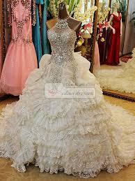 rhinestone wedding dress. Princess Jewelry Halter Crystals And Rhinestones Bodice Court Train