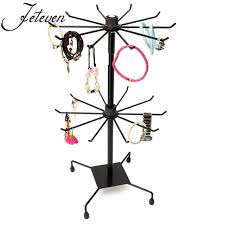 Rotating Hook Display Stand New Double Tier Metal Rotating Jewelry Display Stand Black 32 Hooks