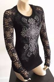 Vocal Black <b>Vintage Crystal Cross</b> Tattoo Floral Lace Back Knit Top ...