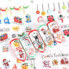 Santa Watermark 12 Designs Christmas Nail Sticker Water Decals Cute Santa Claus Snowman Bells Cookies Lights Watermark Tattoo Tips Bebn1009 1020 Nails Designs French