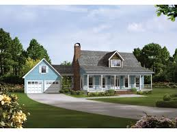 image of front house plans with breezeway and attached garage