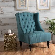 le house taylor high back teal fabric tufted club accent chair blue