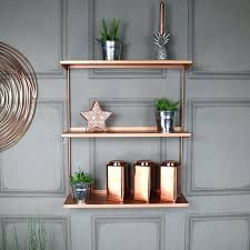 copper metal wall shelves pipe