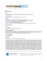 Pdf Contaminant Effects On California Bay Delta Species And