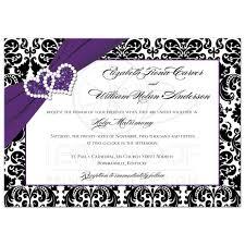 Black And Purple Invitations Wedding Invitation Purple Black White Damask Joined Hearts