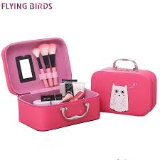 flying birds cosmetic bags box makeup bag women cosmetic cases cute beauty case travel purse jewelry display case fashion holder