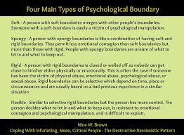 rigid people. there are four main types of psychological boundary: soft - a person with boundaries merges other people\u0027s boundaries. rigid people
