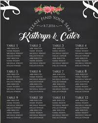 Floral Wedding Seating Chart Table Numbers Custom Wedding