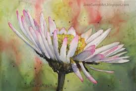 watercolor painting small white gerbera 10 x 8 matted 14 x 11 original painting sold prints available upon request