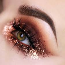copper eye makeup look with glitter warm colors eye looks