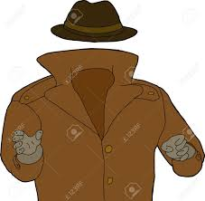 1300x1273 cartoon of trench coat and hat around invisible man royalty free