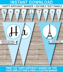 blue paris party banner template happy birthday bunting pennants editable and printable diy template