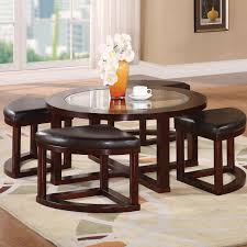 furniture wooden table and case coffee table with ottomans underneath coffee table with four ottomans