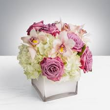 lavender roses with hydrangea and orchids