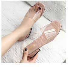 Happy Feet Slippers Size Chart 2019 Zapatos Mujer Fashion Summer Shoes Concise Woman Slippers Outdoor Classic Transparent Vamp Open Toe Chunky Heels Slides Fashion Shoes Happy Feet