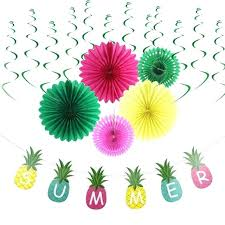 summer party decoration hanging swirl decorations tissue paper fans pineapple shape garland luau craft pineapple tissue paper