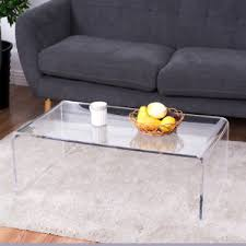 Image is loading Clear-Acrylic-Coffee-Table-Cocktail-Waterfall-Table-37-