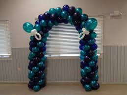 Aqua and purple arch for baby shower