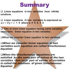summary linear equations in two variables have infinite solutions linear equations in two variables
