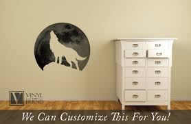 wolf howling at the moon wall decor vinyl decal silhouette digital print on transpa vinyl to match any wall color 2477