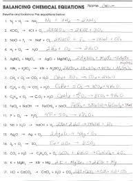 worksheet writing and balancing chemical equations