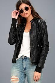 chic black moto jacket coalition la ln29769 black women hooded vegan leather jacket factory classic