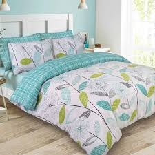 dreamscene allium fl tartan check bedding super king duvet cover set teal green