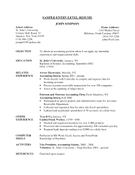 Resume Objective Samples For Entry Level Listmachinepro Com