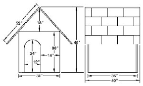 "Free Dog House Plans  Peaked Roof  A Frames  Dog Shelters    Basic Plans for a Large Dog """