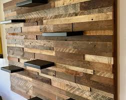 reclaimed barn wood wall art with 7 shelves free