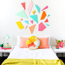 learn how to diy your own light weight colorful geometric headboard using craft foam sheets by on foam sheet wall art with craft it a colorful geometric headboard a kailo chic life