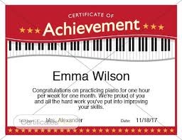 Piano Certificate Template Piano Achievement Certificate Piano Award Printables Child Etsy