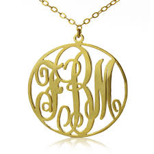 gold plated circle initial monogram necklace custom jewellery by all uniqueness