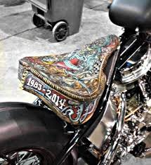 hand tooled leather solo seat bobber seat motorcycle seat