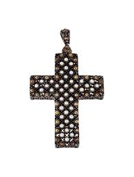 pearl large dot cross pendant