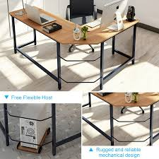 com tribesigns modern l shaped desk corner computer desk pc latop study table workstation home office wood metal teak office s