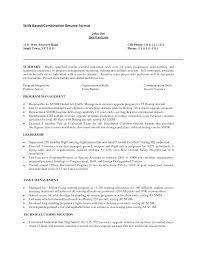Sample Of Skills Based Resume Gallery Creawizard Com