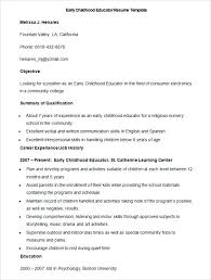 Early Childhood Education Resume Early Childhood Education Resume ...