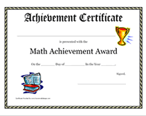 Award Certificate Template Primary School Best Of Math Achievement ...