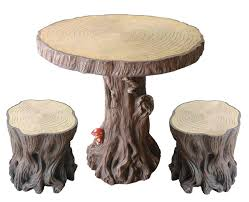 Tree Stump Seats Amazoncom Woodland Tree Table Stump Stools Set Patio Lawn