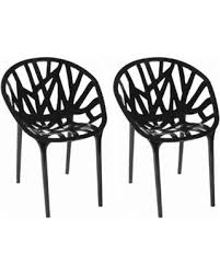 Branch Modern Plastic Dining Side Chair Set Of 2 Black