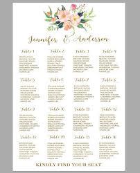 Printable Wedding Seating Chart Template Boho Wedding Table