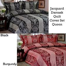 black or burdy 3 pce luxury jacquard damask quilt cover set queen
