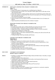 Construction Project Coordinator Resume Samples Velvet Jobs