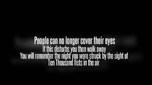 Lyrics to ten thousand fists