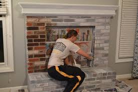 whitewash brick fireplace chalk paint